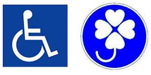 車いすマークや身障者が運転手であることを示すクローバーマーク